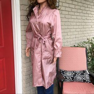 Vintage rose pink long rain jacket
